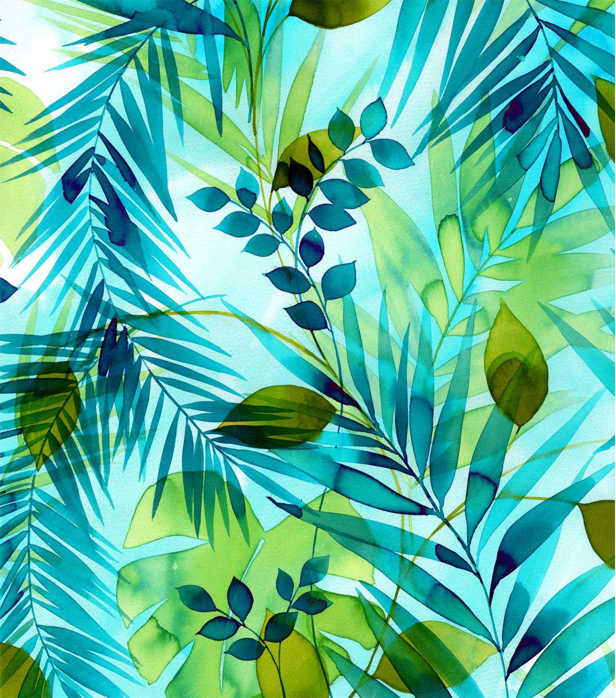 Tropical Fabric - Teal Green Leaves Watercolor Rayon ...