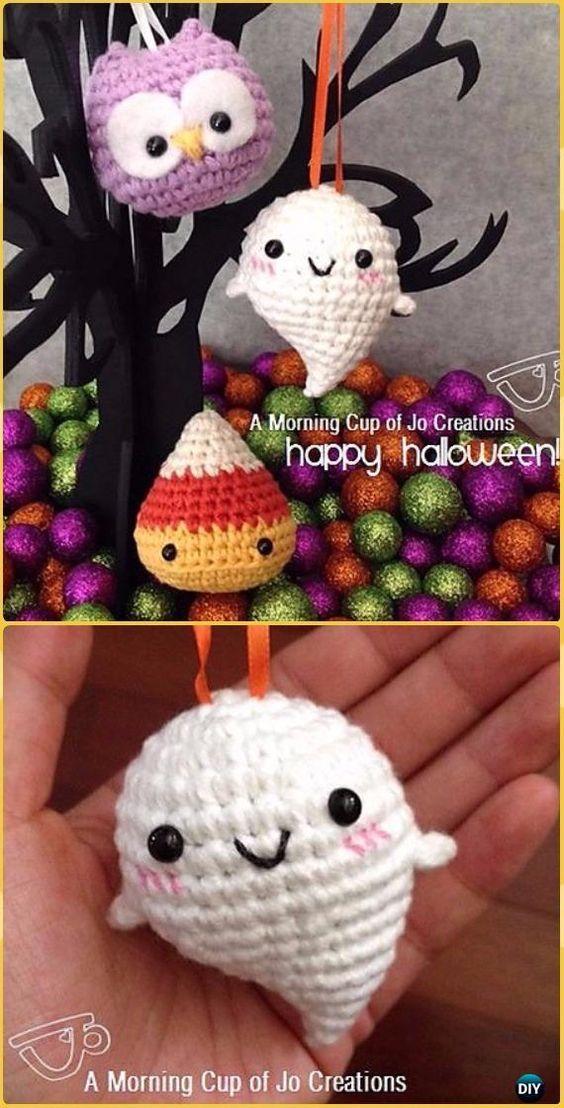 Crochet Baby Ghost Halloween Ornaments Free Pattern | Pinterest | Häkeln