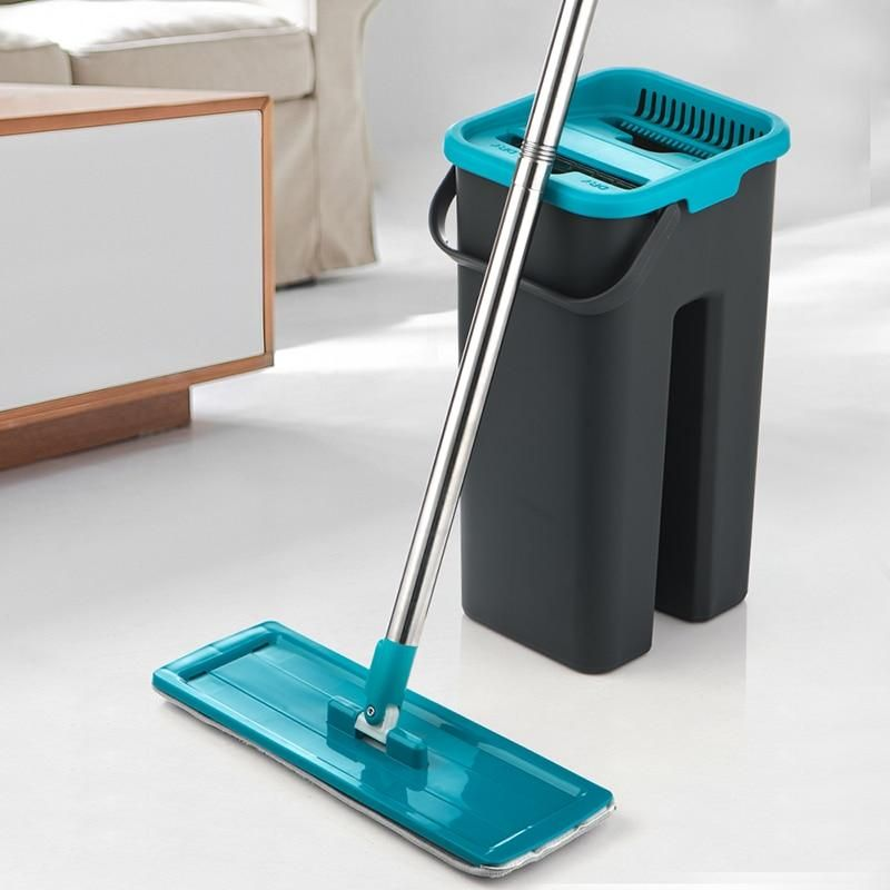 Flat Squeeze Mop And Bucket Hand Free Wringing Floor Cleaning Mop Microfiber Mop Pads Wet Or Dry Usage On Hardwood Laminate Tile In 2020 Cleaning Mops Floor Cleaning Mop Floor Cleaner