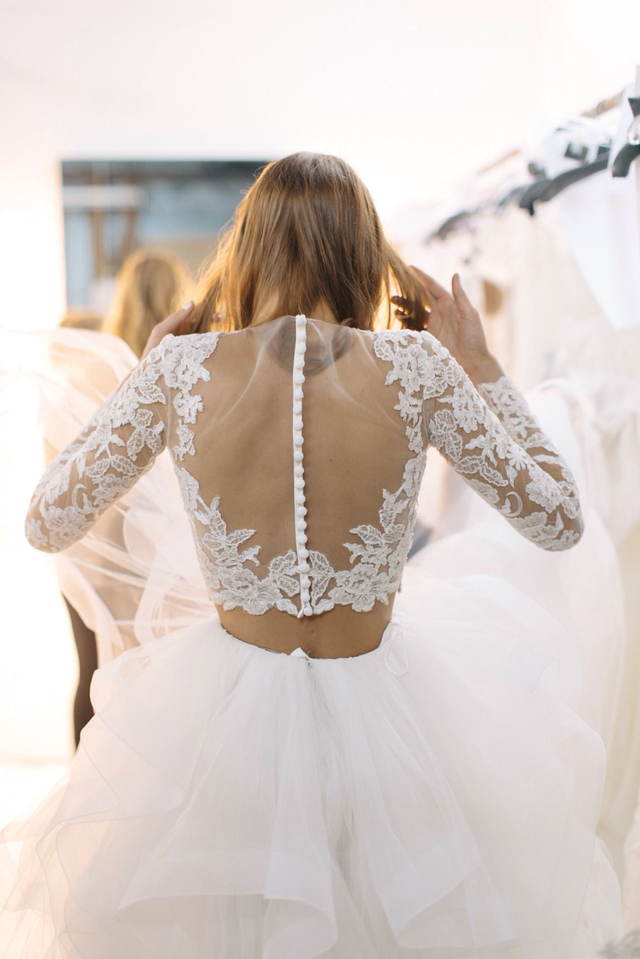 2 piece crop top wedding dress  empressempire  hello u welcome lovely  Backstage  Reem Acra F