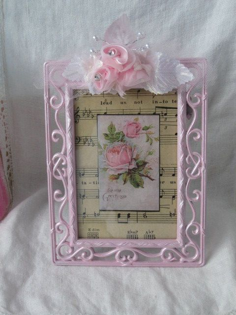 Shabby Chic Sweet Scrolly Metal FRAME 4x6 Pink Roses ECS | Marcos ...