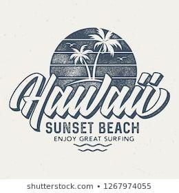 Hawaii Sunset Beach - Aged Tee Design For Printing #teedesign