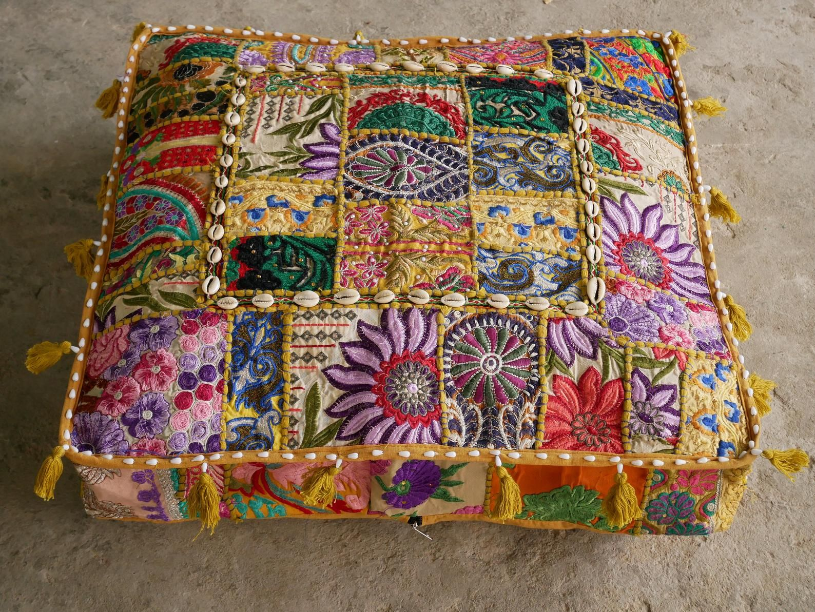 "Floor cushion - Large floor pillow cover ""Masala"" square pouf cushion 