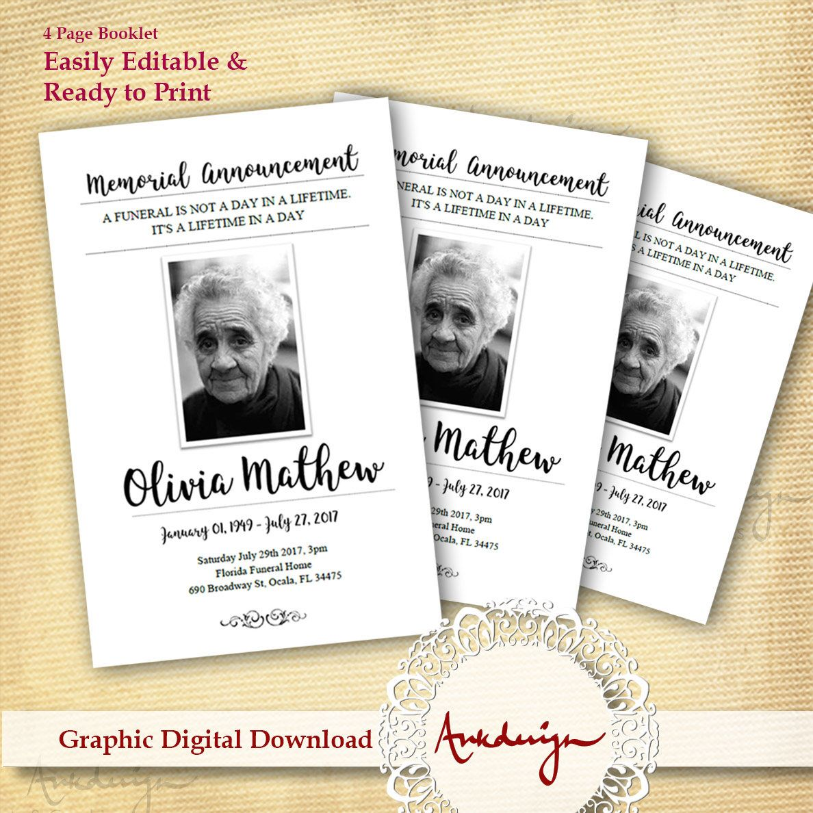 White Funeral program template, Funeral Card, Digital Download ...