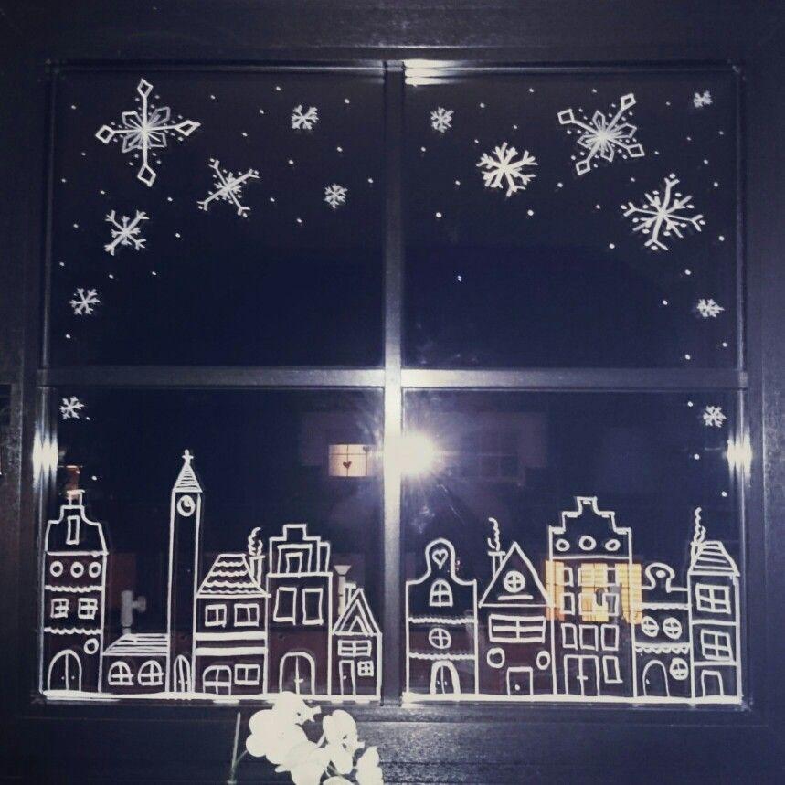 Weihnachten, Kreidestift, Kreide, chalkboard, Schneeflocken,  Niederländische Häuser, Fensterbild #fensterdekoweihnachtenbasteln