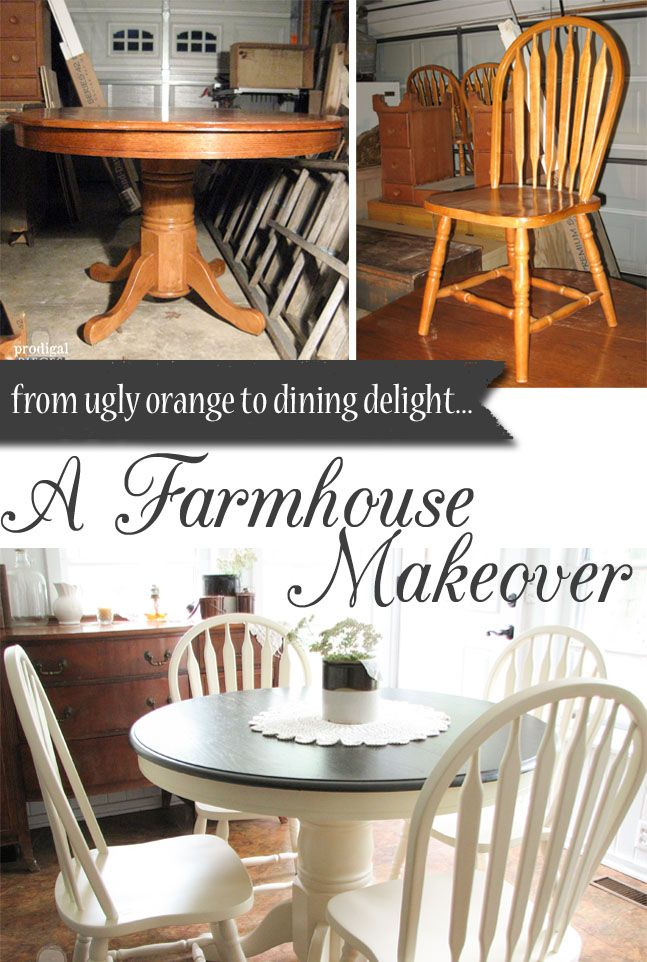 Farmhouse Table Makeover with HomeRight Sprayer  Prodigal Pieces is part of Kitchen table makeover - A 80's ugly dining set is in great shape, but needs a major update  The HomeRight Finish Max paint sprayer helped this farmhouse table makeover a breeze
