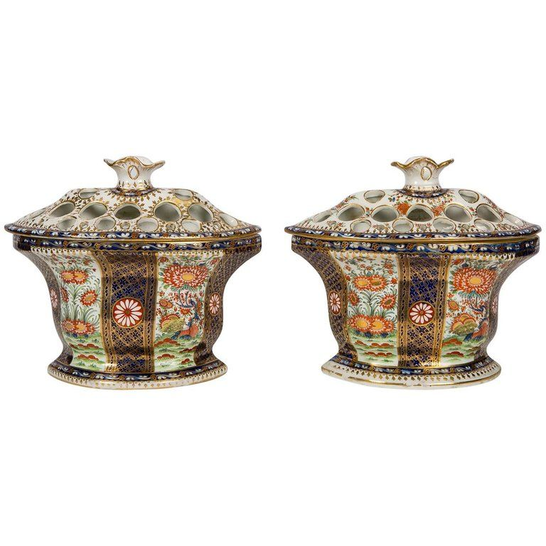 Pair Of Chamberlain Worcester Porcelain Porcelain
