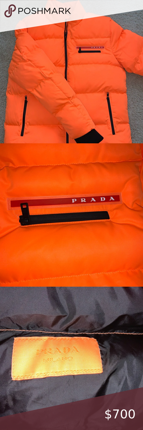 Authentic Prada Neon Puffer Jacket Orange Puffer Jacket Clothes Design Jacket Brands [ 1740 x 580 Pixel ]