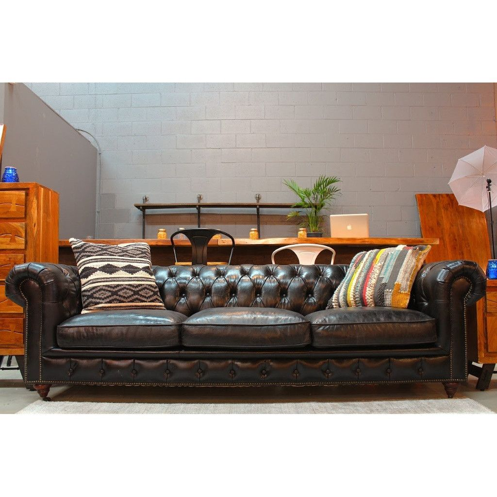 Greyson Chesterfield 3-Seater Leather Sofa Black – Wazo Furniture ...