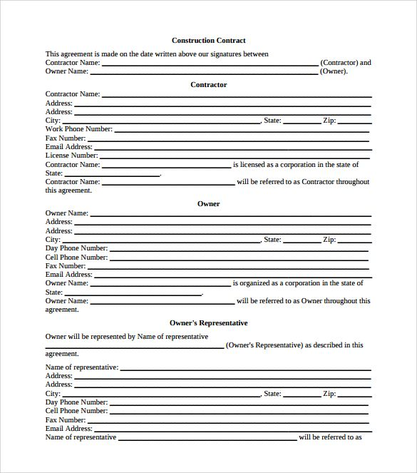 Construction Contract PDF Free , 8+ Construction Contract Template - contract templates in pdf
