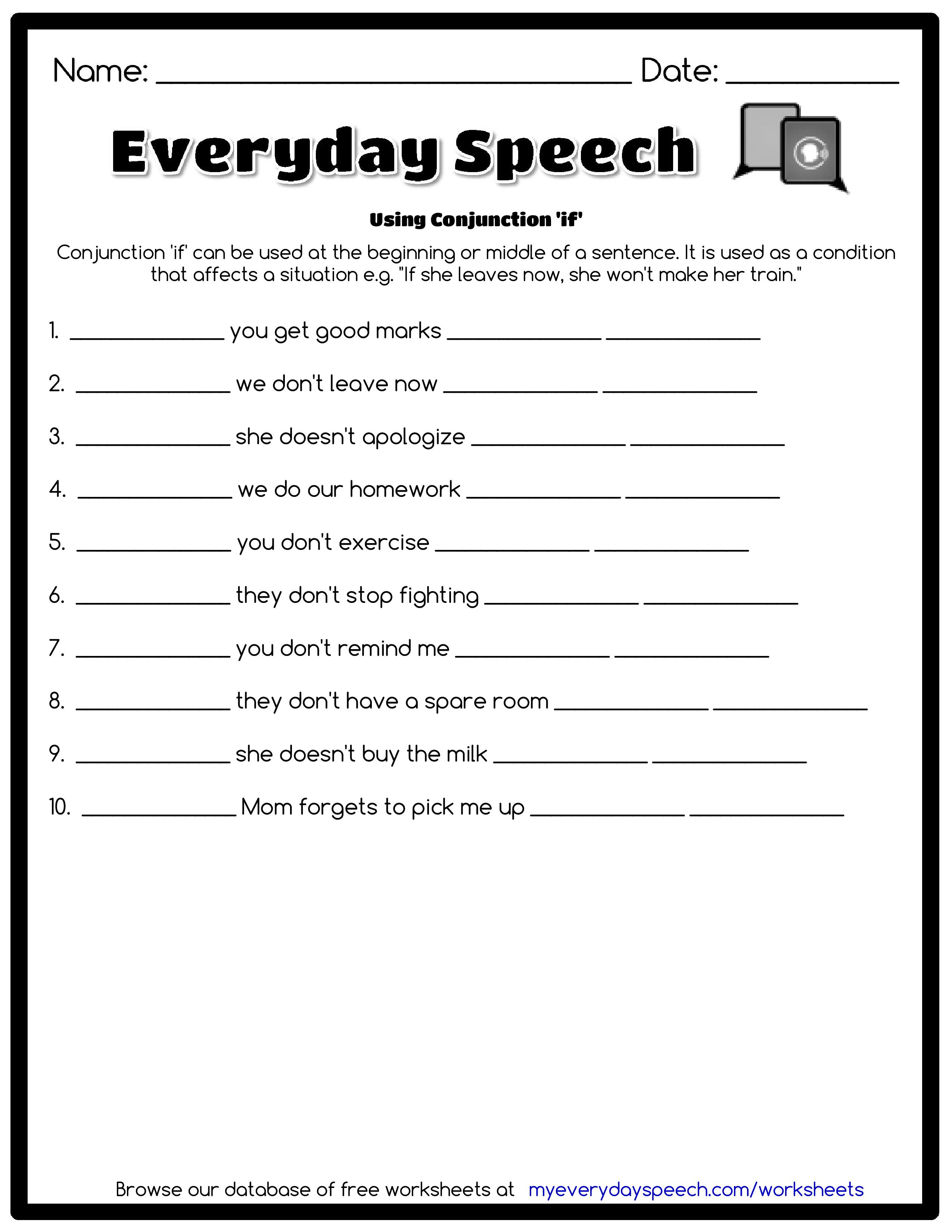 Check Out The Worksheet I Just Made Using Everyday Speech S Worksheet Creator Using Conjunction If Conjuncti Speech Therapy Worksheets Speech Conjunctions [ 3300 x 2550 Pixel ]