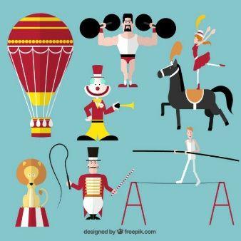 Circo espectáculo iconos