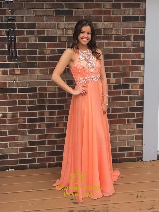 3be7125f58986 vampal.co.uk Offers High Quality Orange Halter Beaded Backless Long Chiffon  Prom Dress,Priced At Only USD $169.00 (Free Shipping)