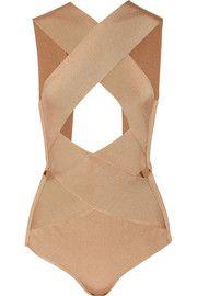 Cutout satin-bandage bodysuit