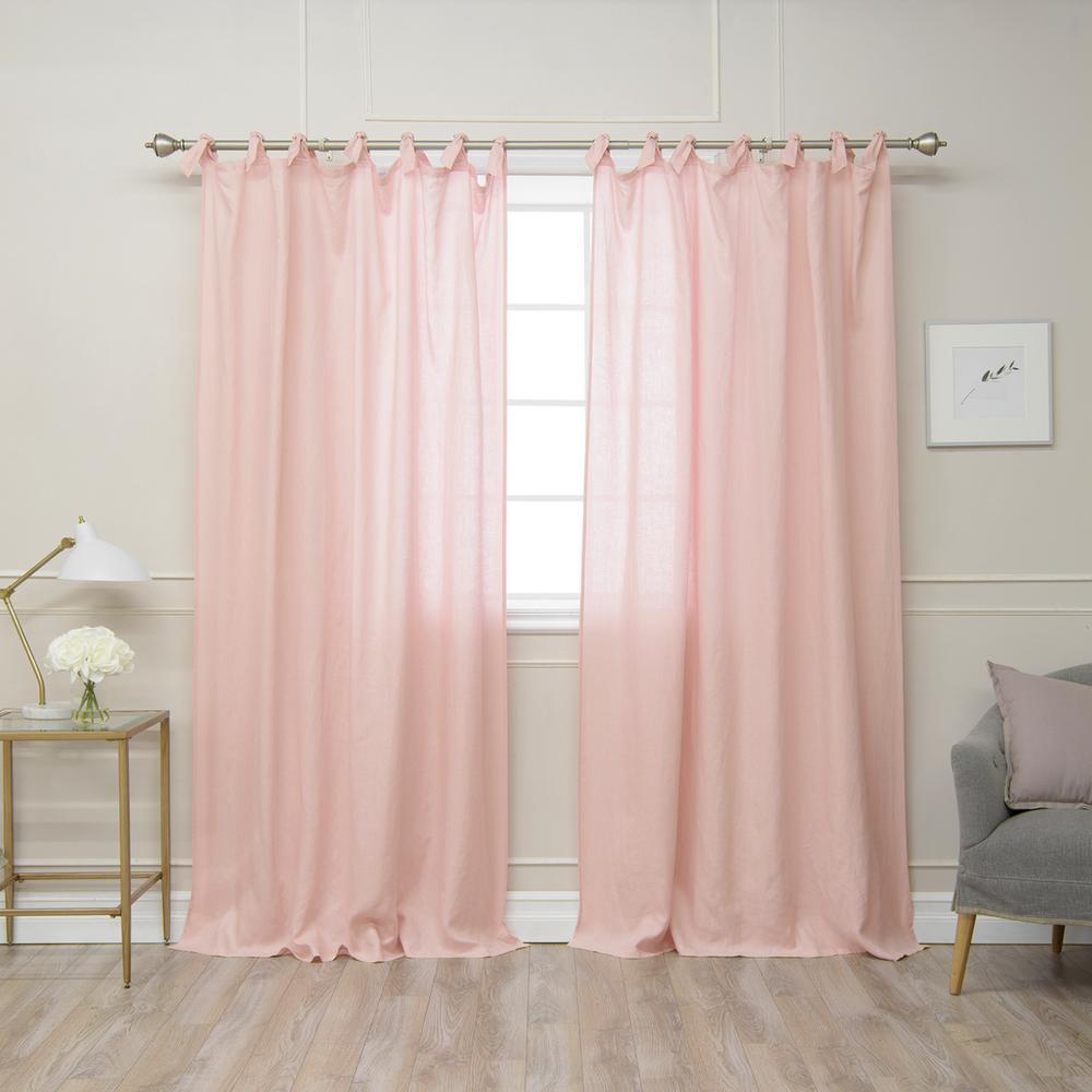 Pink 84 In L Abelia Belgian Flax Linen Romantic Tie Top Curtain