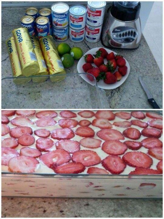 Galletas marias,  leche condensada,  leche evaporada,  media crema, limones y fresas   Licuas las leches le pones limon y haces capas de galleta,  crema y fresas | https://lomejordelaweb.es/