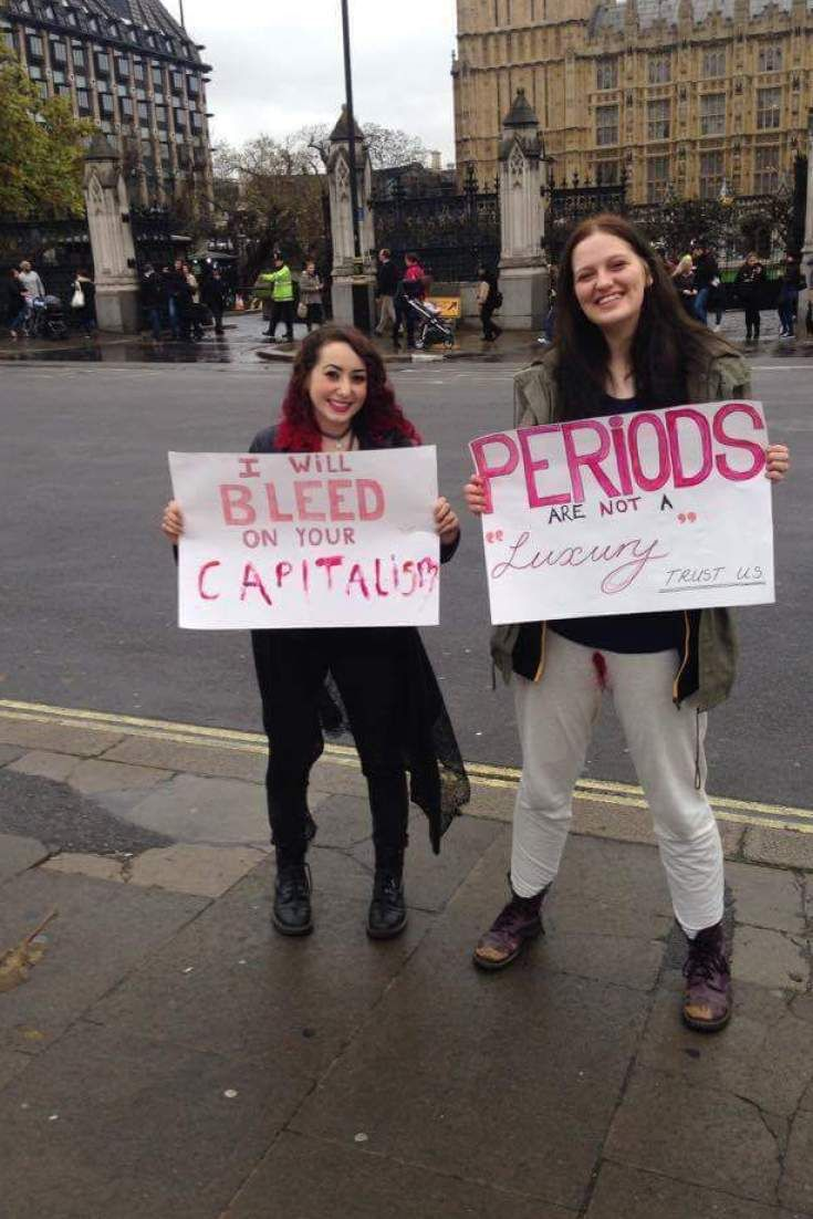 Three Women In White Trousers On Their Period Make Strong Tampon Tax