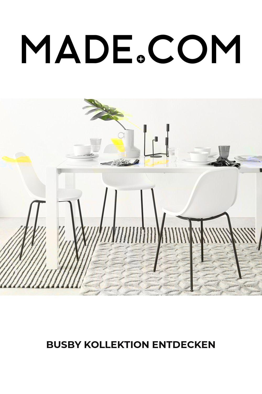 4 x Busby Esszimmerstühle, Weiß und Schwarz