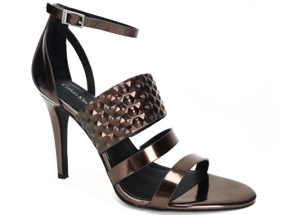 04b240b08c4 Calvin Klein Women s Mayra Dress Sandals Metallic Box Espresso Size 8 M   CalvinKlein  AnkleStrap