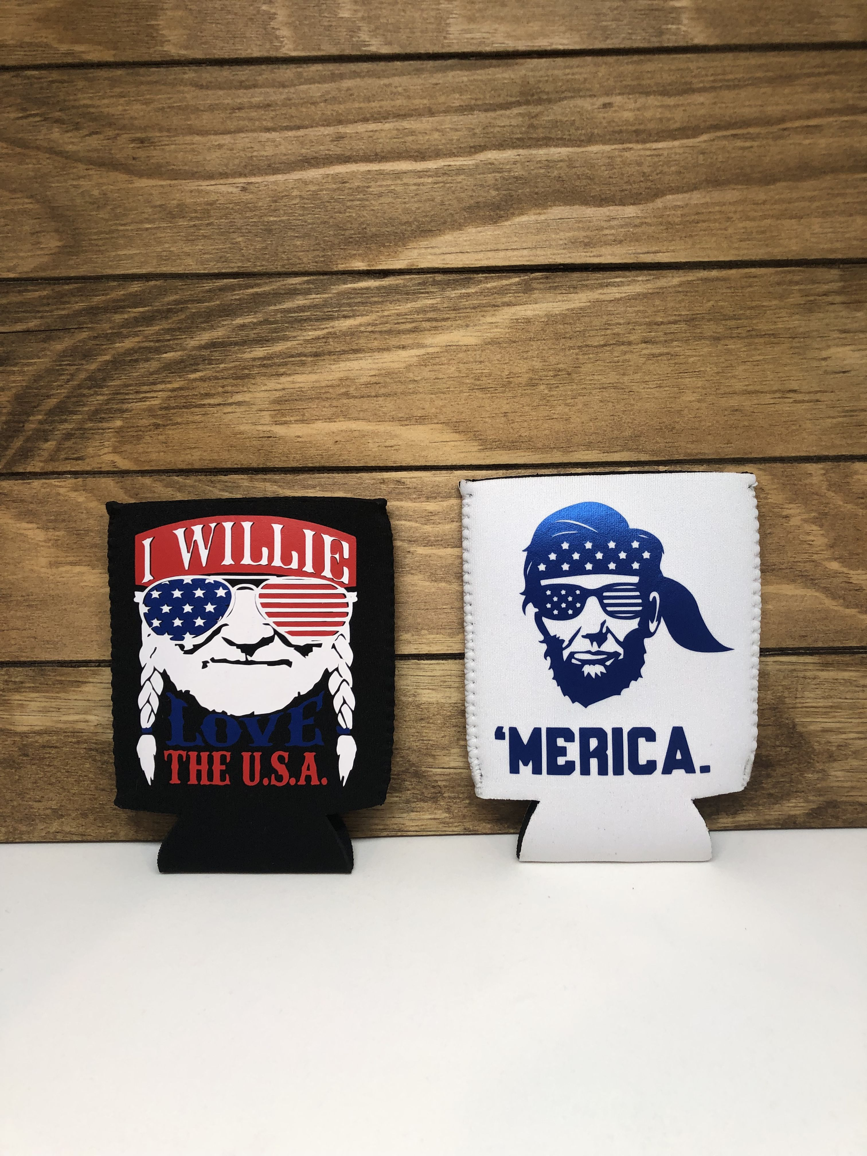 Express your American pride with these fun can coolers