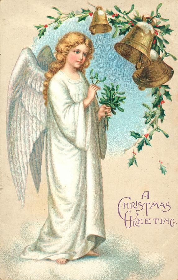 Christmas Angel By English School Christmas Angels Vintage Christmas Cards Victorian Angels