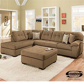 Simmons Malibu Mocha 2 Piece Sectional With Four Throw Pillows At Lots