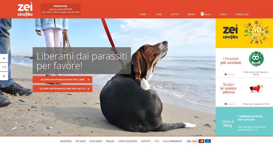 L'home page dell'e-commerce. Le immagini dal forte impatto emozionale rendono la customer experience unica e coinvolgente.
