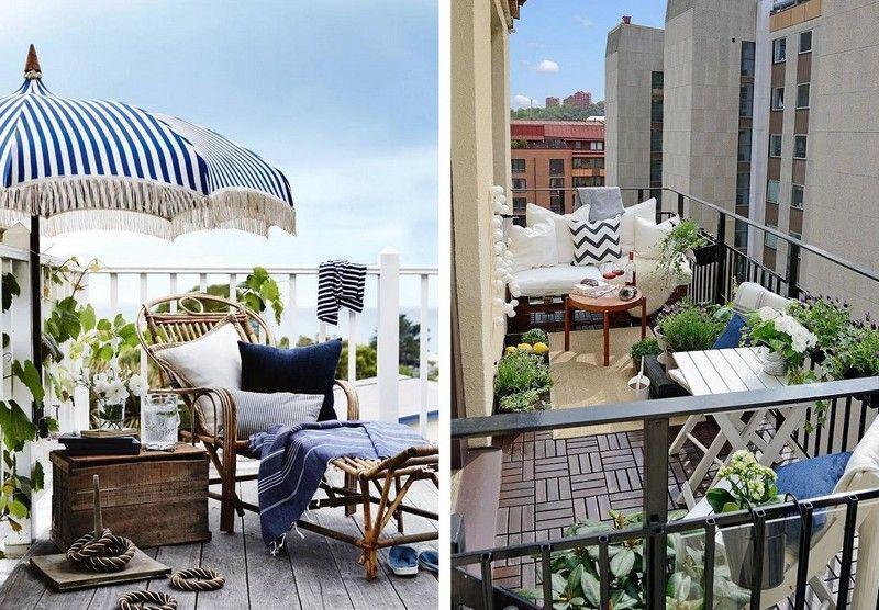 Kleiner Balkon mit bequemen Bambusmöbeln platzsparend einrichten