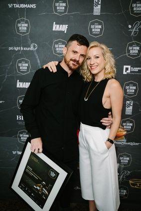 Matt Woods and partner Lucia Braham. Matt Woods Design was winner of Best Restaurant Design for Beccafico.