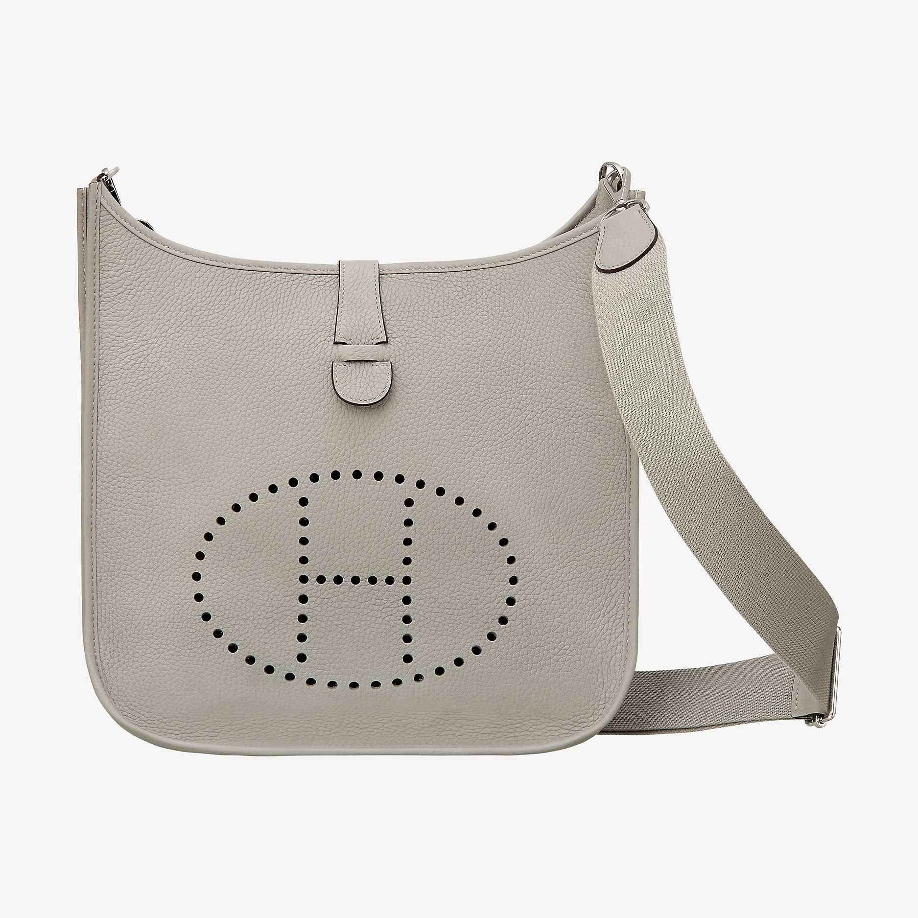 Hermes Bag In Taurillon Clemence Leather Adjule Shoulder Strap Outside Pocket Tabclosure Perforated Plaque