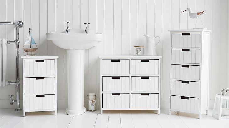 Brighton White Bathroom Cabinet Furniture With Drawers Coastal Style And Home Decor Accessories For