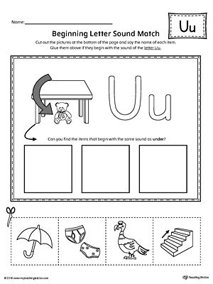 Short Letter U Beginning Sound Picture Match Worksheet Dayschool