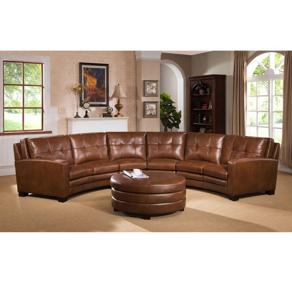 Meadows Brown Curved Top Grain Leather Sectional Sofa and Ottoman ...