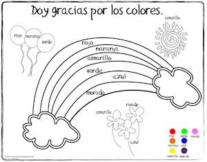 Spanish Thanksgiving Vocabulary Coloring Pages en 2020