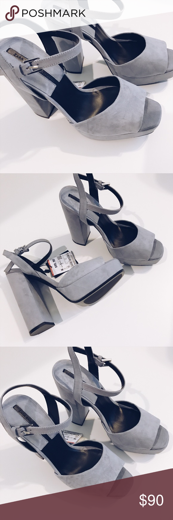 Zara | Blue Suede Block Heels NWT never been worn block heels/sandals. Blue Grey color, very chic. Zara 38 or 7 1/2. Zara Shoes Heels