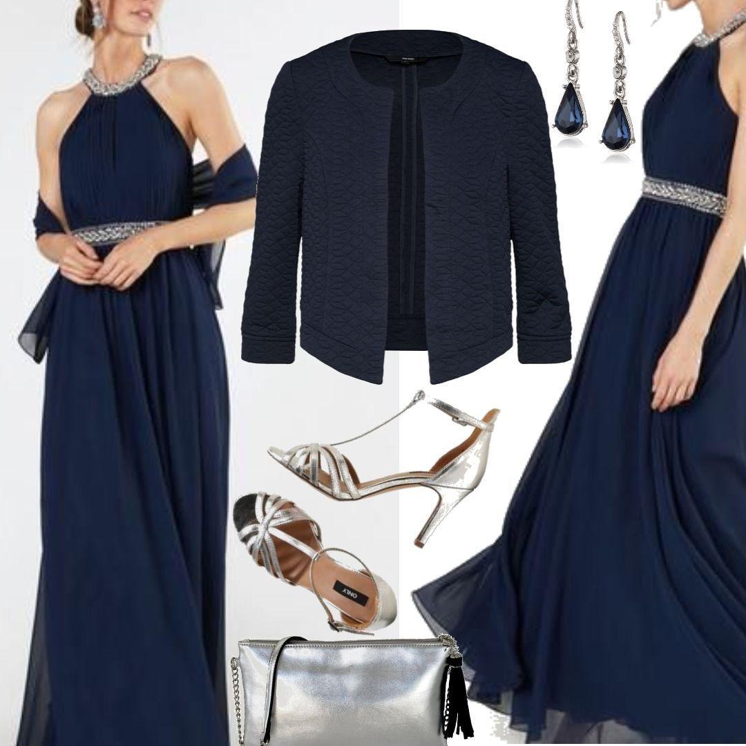 Mascara Abendkleid mit Glitzerbesatz nachtblau VERO MODA Blazer