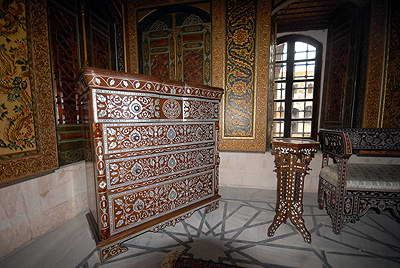 The furniture in main room of Al-Azem Palace in Hama. Photo taken by the author..