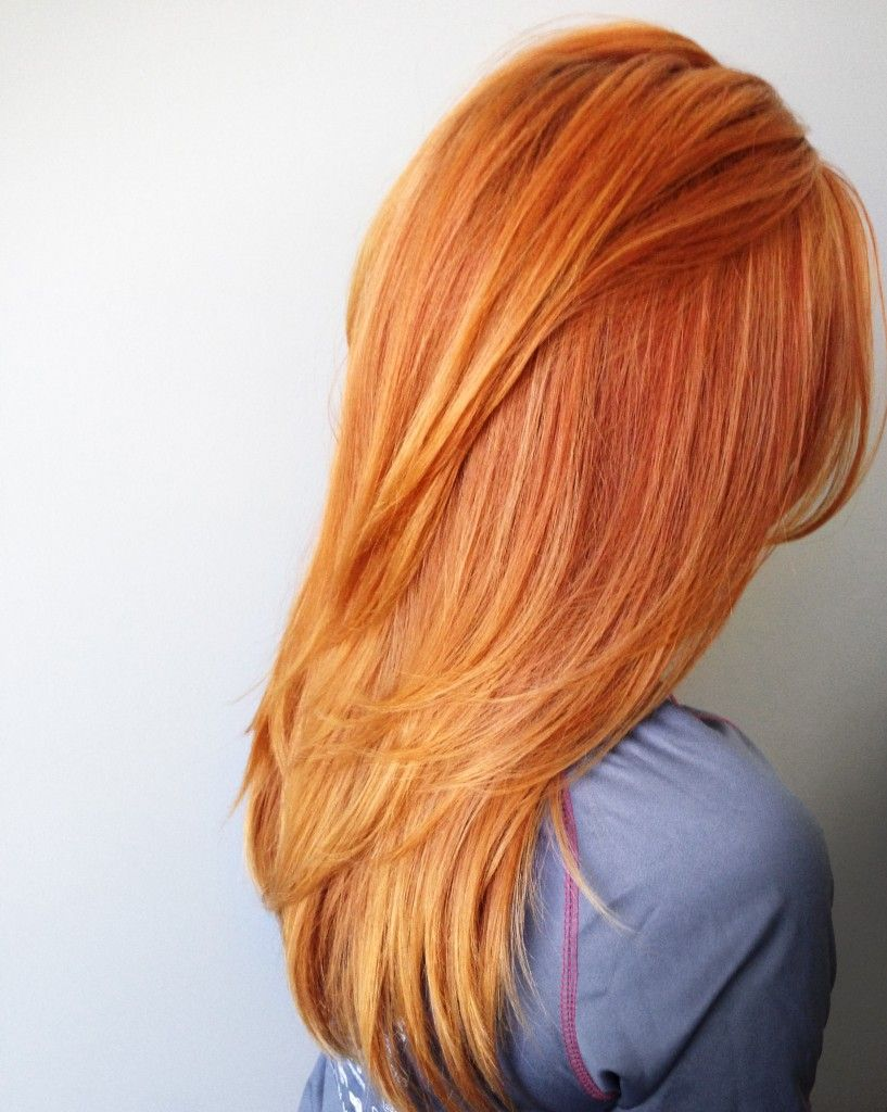 Red Orange Hair Color With Long Layers And Fav Products Hair By
