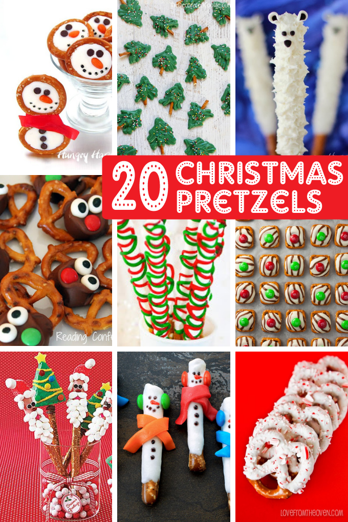 CHRISTMAS PRETZELS — a roundup of 20 holiday pretzel treats