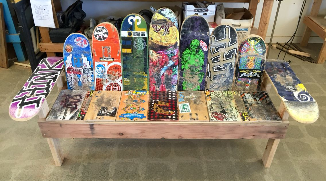 Skateboard Bench Skateboard Furniture Skateboard Decor Skateboard Room