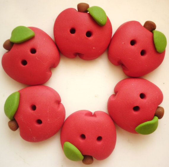 Red apple shaped button handmade with polymer clay