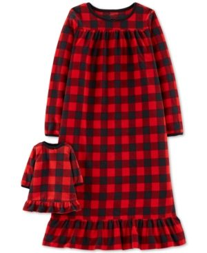 a147f0d6974 Carter s Little   Big Girls Plaid Fleece Nightgown   Doll Nightgown - Red  Checkered 12-14