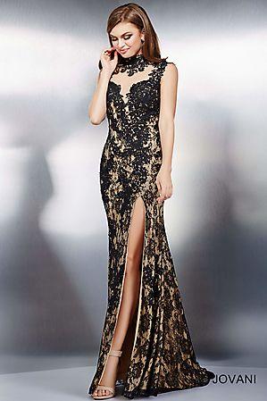 3bdc2b65fb6 Black High Neck Lace Dress 23066