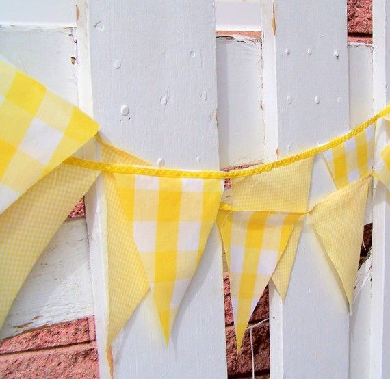 Vintage Gingham Sunshine Yellow Party Bunting