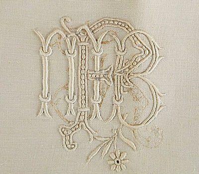 Fleishhacker Estate Antique Triple Monogram Fine French Linen Pillow Sham | Vintageblessings