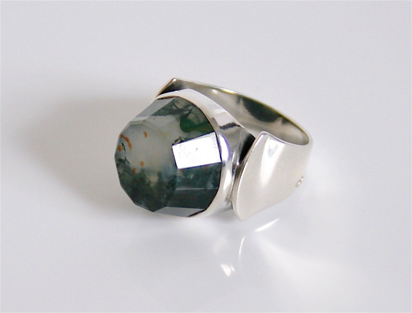 Swedish Faceted Moss Agate & Sterling Silver Vintage Ring 835 Size ...