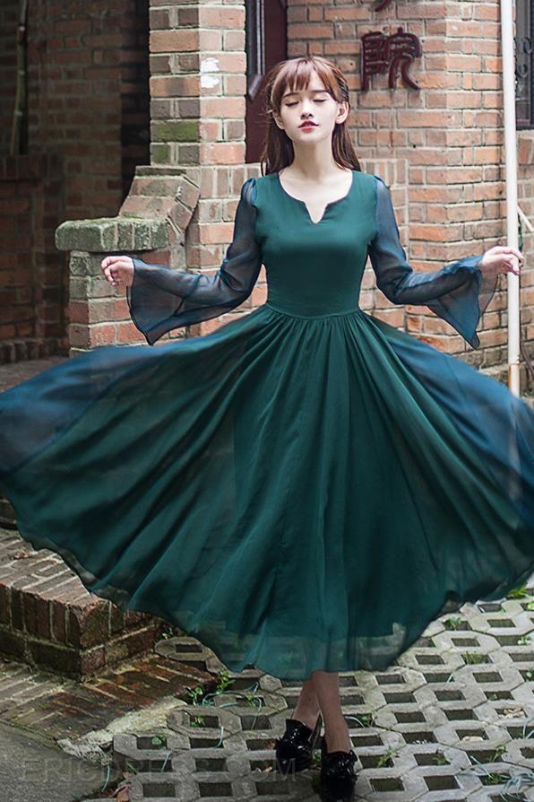 Ericdress Dark Green Vintage Maxi Dress Maximum Style
