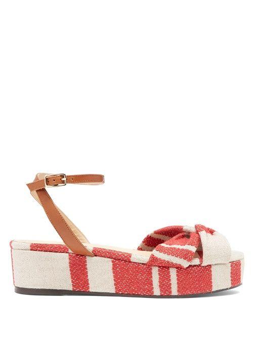 Angela linen flatform sandals