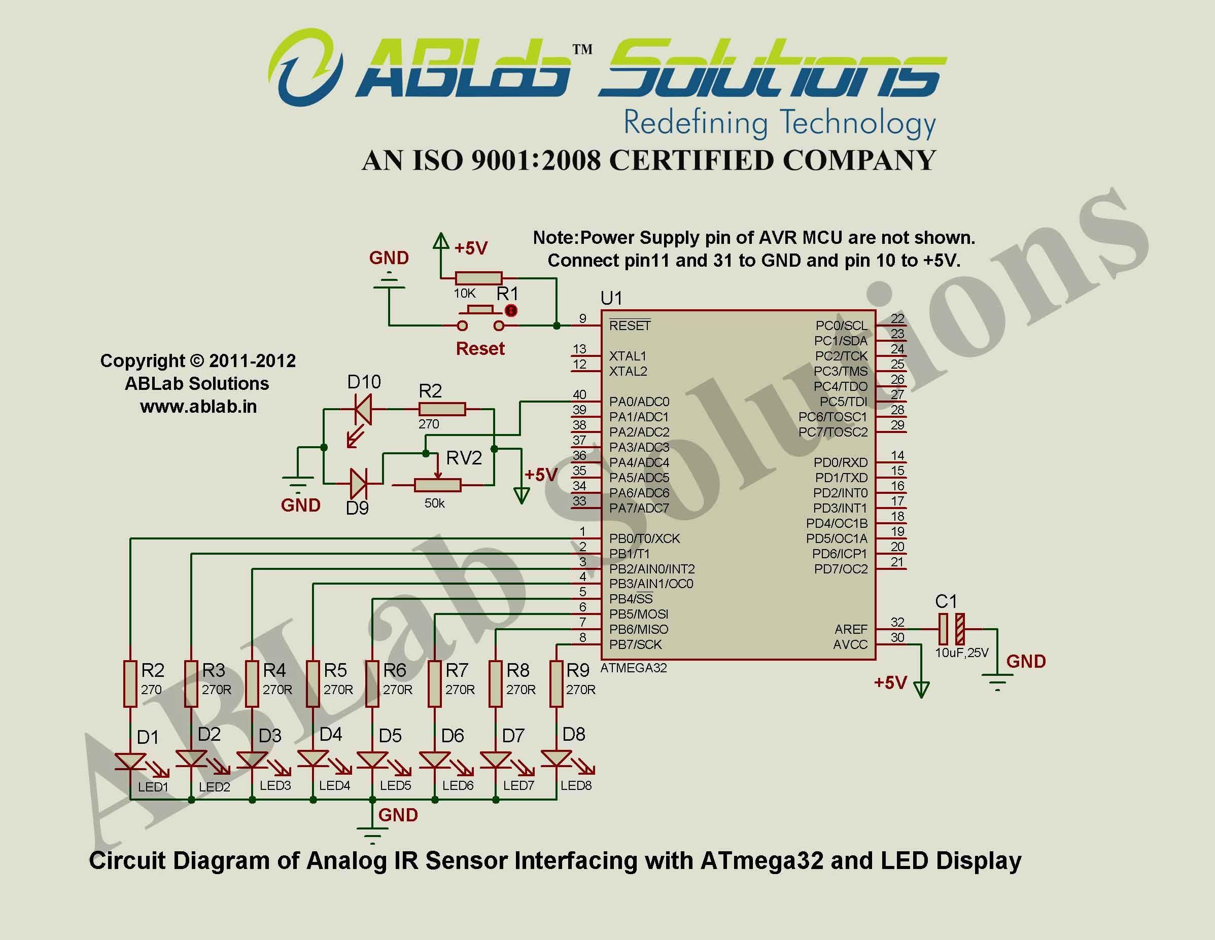 How To Interface Analog Ir Sensor With Avr Atmega32 Microcontroller Microcontrollers Circuit Diagram Sensor