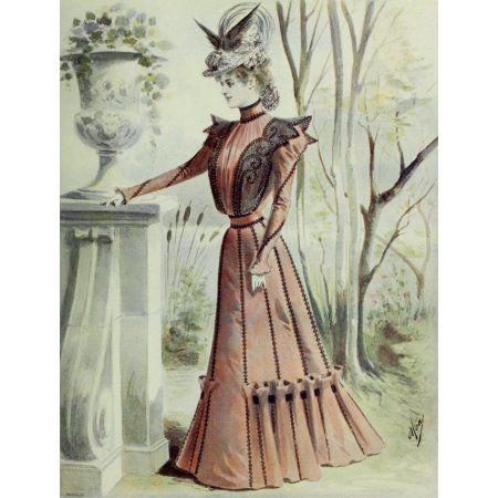 Latest Paris Fashions 1877 Spring Gown from Paris Canvas Art - Unknown (18 x 24)